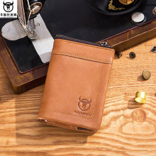BULL CAPTAIN Brand Genuine Leather Short Pocket Wallet Men Coin Bag Cardholder ID Drive Card Case Men's Multi-usage Dollar Purse