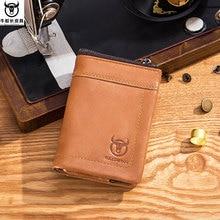 BULL CAPTAIN Brand Genuine Leather Short Pocket Wallet Men Coin Bag Cardholder ID Drive Card Case Men's Multi-usage Dollar Purse