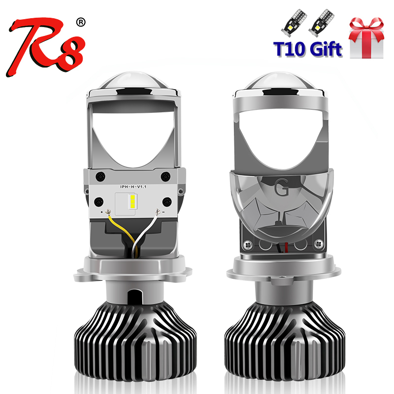 R8 2 шт. безвентиляторный H4 9003 светодиодный мини проектор Объектив авто дальнего и ближнего света светодиодная фара Лампа 12 В 5500 к 5000LM лампочки RHD LHD|Передние LED-фары для авто|   | АлиЭкспресс