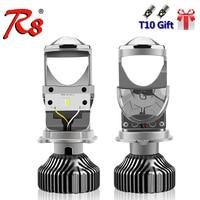 R8 2pcs Fanless H4 9003 LED Mini Projector Lens Car Auto High Low Beam LED Headlight Lamp 12V 5500K 5000LM Light Bulbs RHD LHD