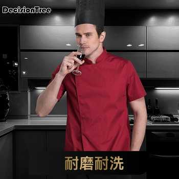 2020 arrival men kitchen restaurant cook workwear chef uniform multiple colour shirt double breasted chef jacket