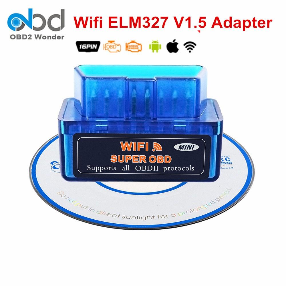 2019 Super Mini ELM 327 WIFI 1.5 Diagnostics Auto Scanner ELM327 V1.5 IOS Andorid PC OBD2 Diagnostic Code Reader ELM327 Wi Fi
