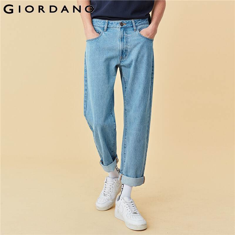 Giordano Men Jeans Mid Rise Loose Denim Jeans Cotton Classic Five Pocket Moustache Effect Vaqueros Hombre 01110075