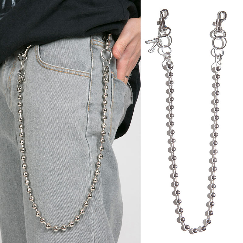 Long Metal Wallet Belt Chain Rock Punk Trousers Hipster Pant Jean Keychain Silver Ring Clip Keyring Men's HipHop Jewelry CL154