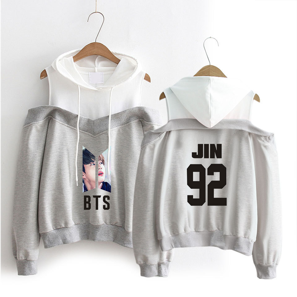 2018 New Style Fashion-off-Shoulder Camisole Hooded Sweater Women's BTS Series