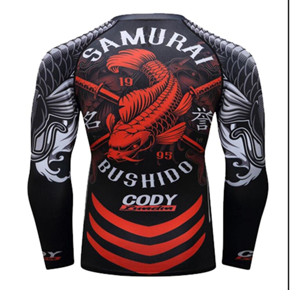 Mens Tights Jiu Jitsu Bjj T-shirt Long Sleeve Fitness Muay Thai Boxing Stretch Sport Sweater Mma Rashguard Boxing Jersey Good Taste