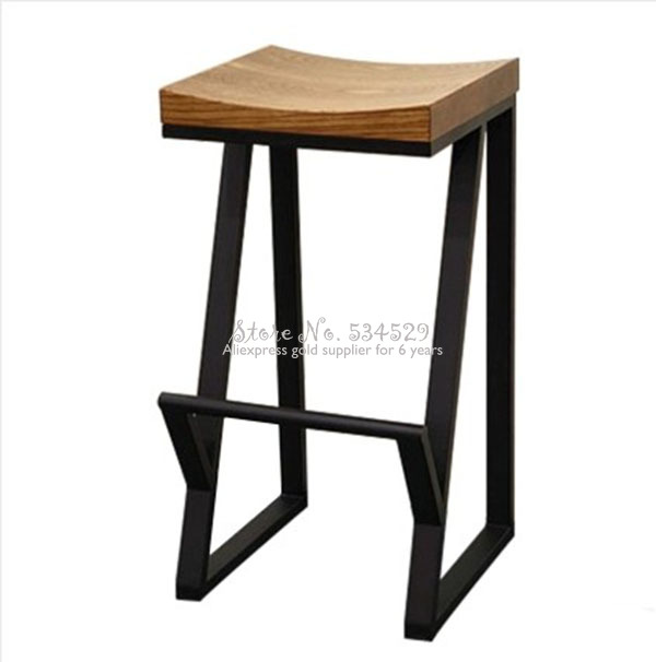 30%Retro Bar Chair Wrought Iron Bar Stool Solid Wood Bar Stool Creative High Stool Leisure Bar Chair Front Coffee Chair