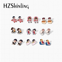 Stud-Earrings Jewelry Volleyball-Boys Acrylic Epoxy Anime Resin New-Arrival Handcraft