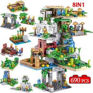 690 шт. 8 в 1 подвесная садовая елка, дом, строительные блоки, фигура, кирпичи, игрушки для детей, подарки