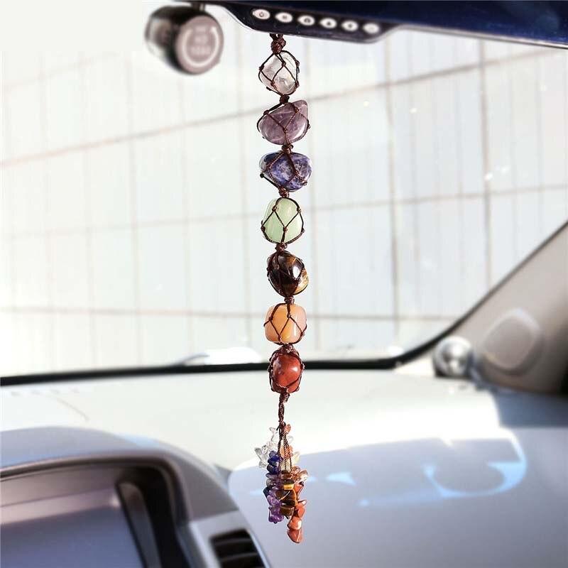 7 Chakra Tumbled Gemstone Tassel Spiritual Meditation Hanging Window Feng Shui Ornament Natural Stones Car Home DIY Decor