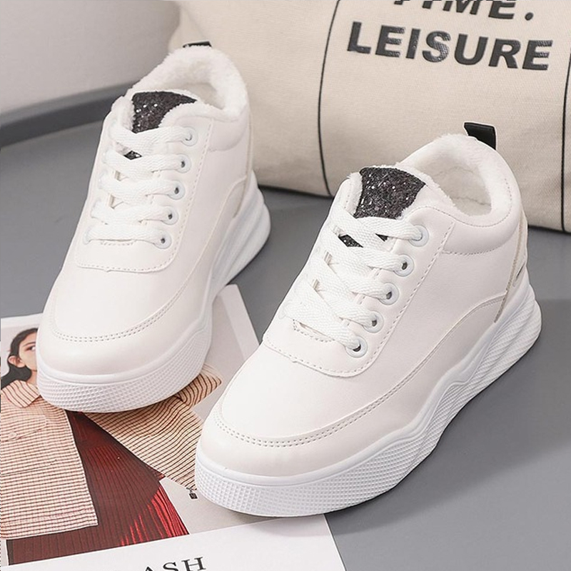 White Platform Shoes Women Sneakers 2019 Fashion Lace-up PU  Casual Shoes Sneakers Women Shoes Zapatos De Mujer