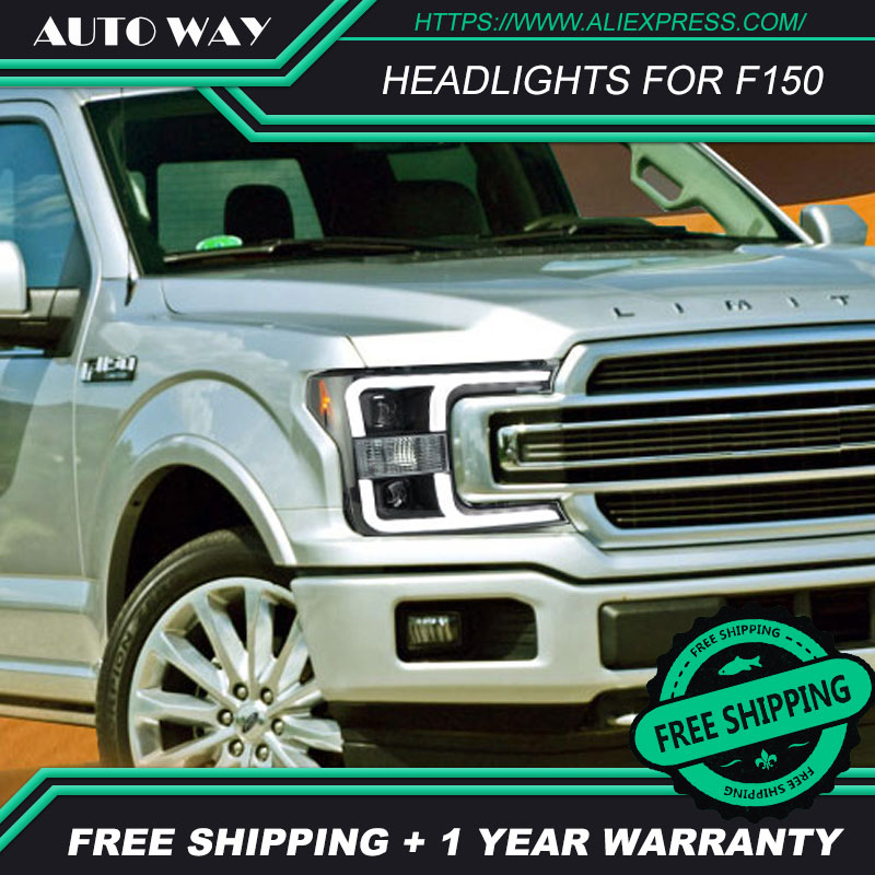 car styling Case For Ford F150 headlights Ford F150 Headlight 2018 2019 LED light bar DRL Q5 bi xenon lens <font><b>h7</b></font> xenon image