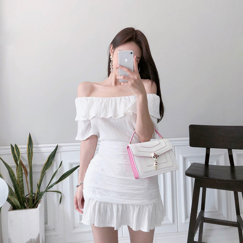 WOMEN'S Suit 2019 Summer New Products Debutante Elegant Horizontal Neck Off-Shoulder T-shirt Waist Hugging Flounced Skirt Two-Pi