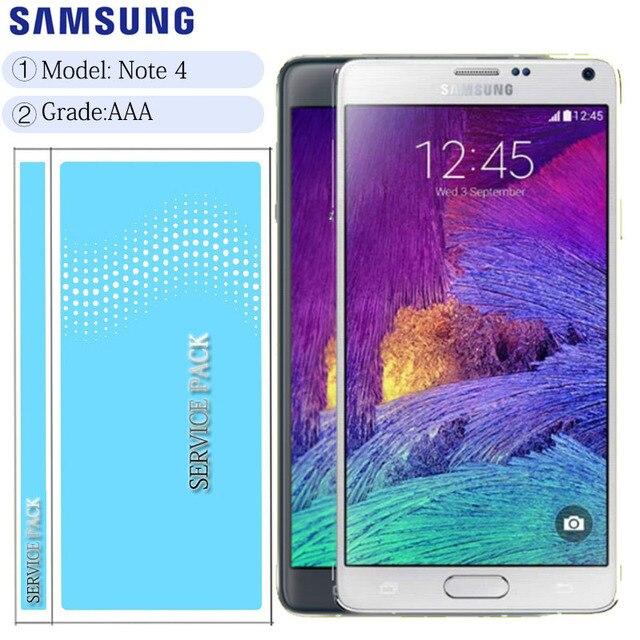 ORIGINAL 5.7 LCDสำหรับSAMSUNG Galaxy Note 4 Note4 N910 N910C N910A N910FจอแสดงผลTouch Screen Digitizer Assembly