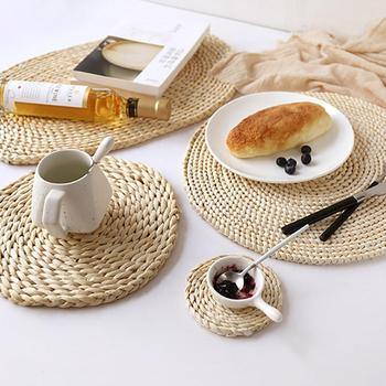 Placemat  Natural Corn Fur Woven Pad Thickened Insulation Tea Mat Table Heat-Resistant Casserole Cushion Kitchen Tool