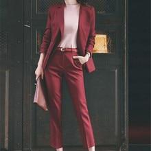 Lady Women's Suit Set Spring and Autumn Burgundy Notch Lapel