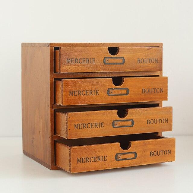 Business Office Furniture Storage Organizer Retro Wooden Drawer