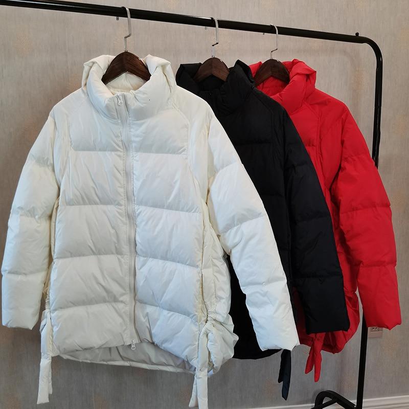 2019 Back Ji Li Lead Long Fund   Down   Jackets Woman Easy Thickening Student Loose   Coat   Tide