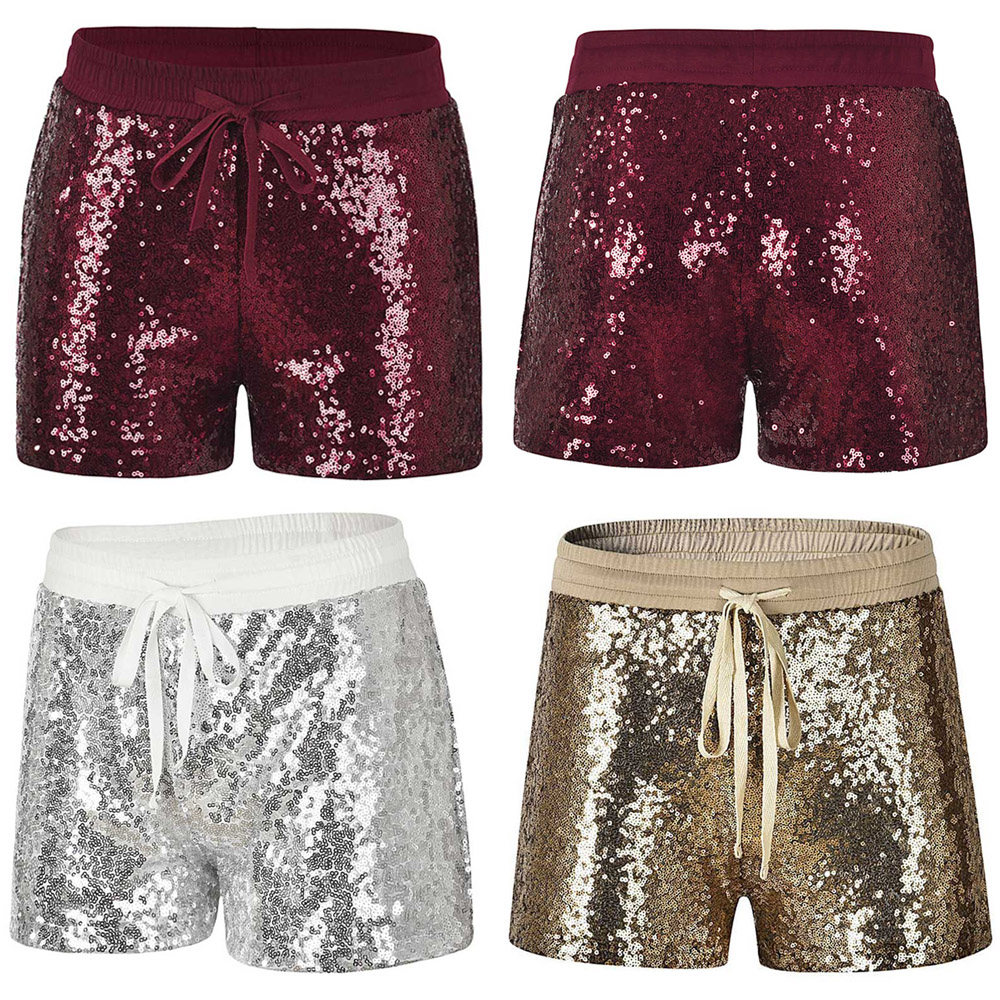 Ladies Stylish Casual Short Pants Drawstring Elastic Waist Glitter Sequin Shorts CLSYH0027