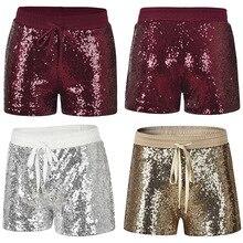 Pantalones cortos casuales elegantes con cordón cintura elástica brillo lentejuelas CLSYH0027