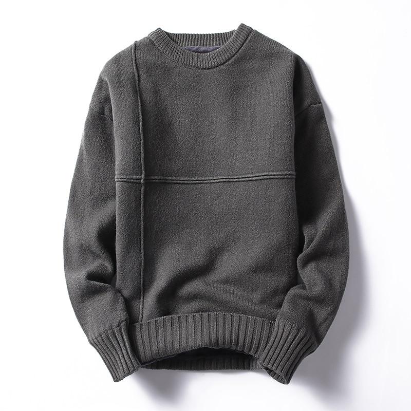 Autumn And Winter Sweater Men Plus Velvet Plus Thick Men's Warm Top Trend Long-sleevebottom Knit Sweater Line Coat Coat