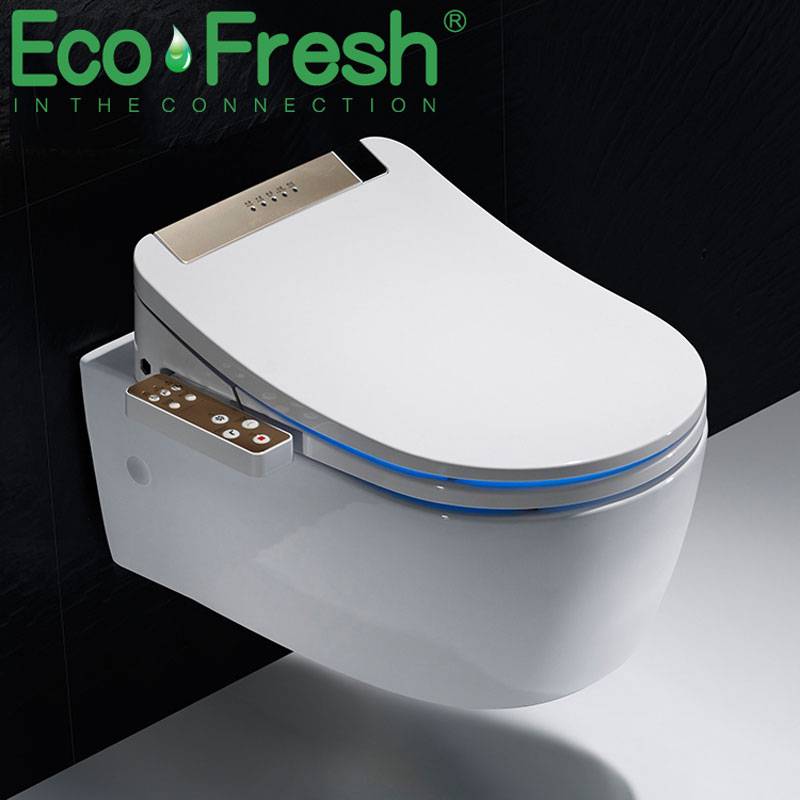 Ecofresh Bathroom Smart Toilet Seat Cover Electronic Bidet Clean Dry Seat Heating Wc Gold Intelligent Led Light Toilet Seat