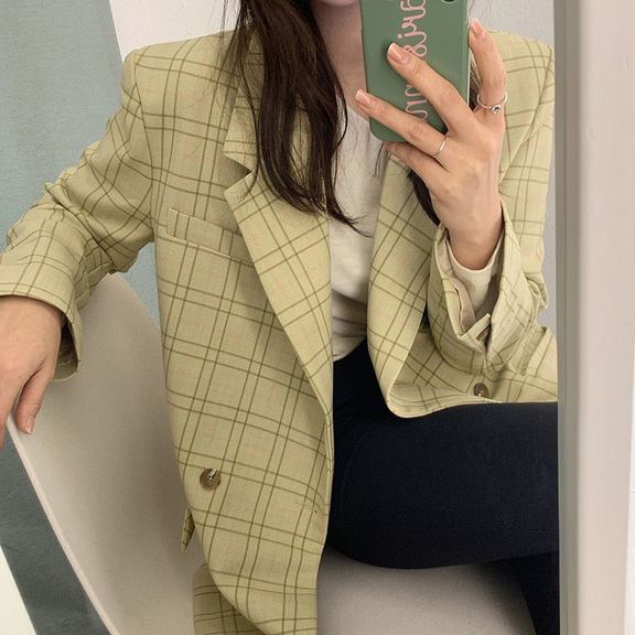 Autumn Women Plaid Blazer Chic Notched Collar Fashion Double Breasted Full Sleeve Female Loose Outwear Suit Jacket Coat vs408
