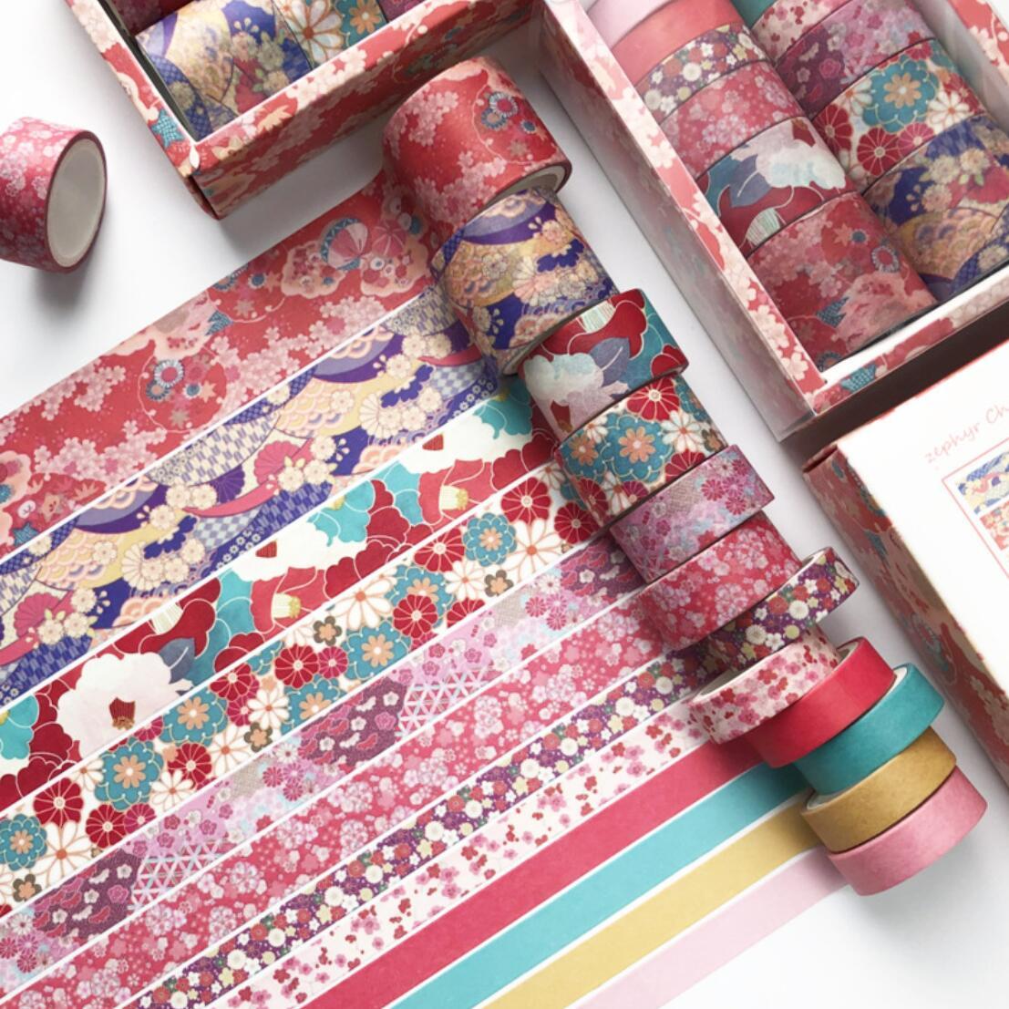 12 Pcs/set Vintage Blossom Pink Washi Tape Set Scrapbooking DIY Bullet Journal Stationery Masking Tape School Office