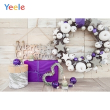Yeele Christmas Wood Photocall Gift Wreath Ins Ball Photography Backdrops Personalized Photographic Backgrounds For Photo Studio