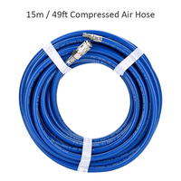 15m / 49ft Compressed Air Hose PVC Car Pressure Washer Hose 1/4 Quick Connector