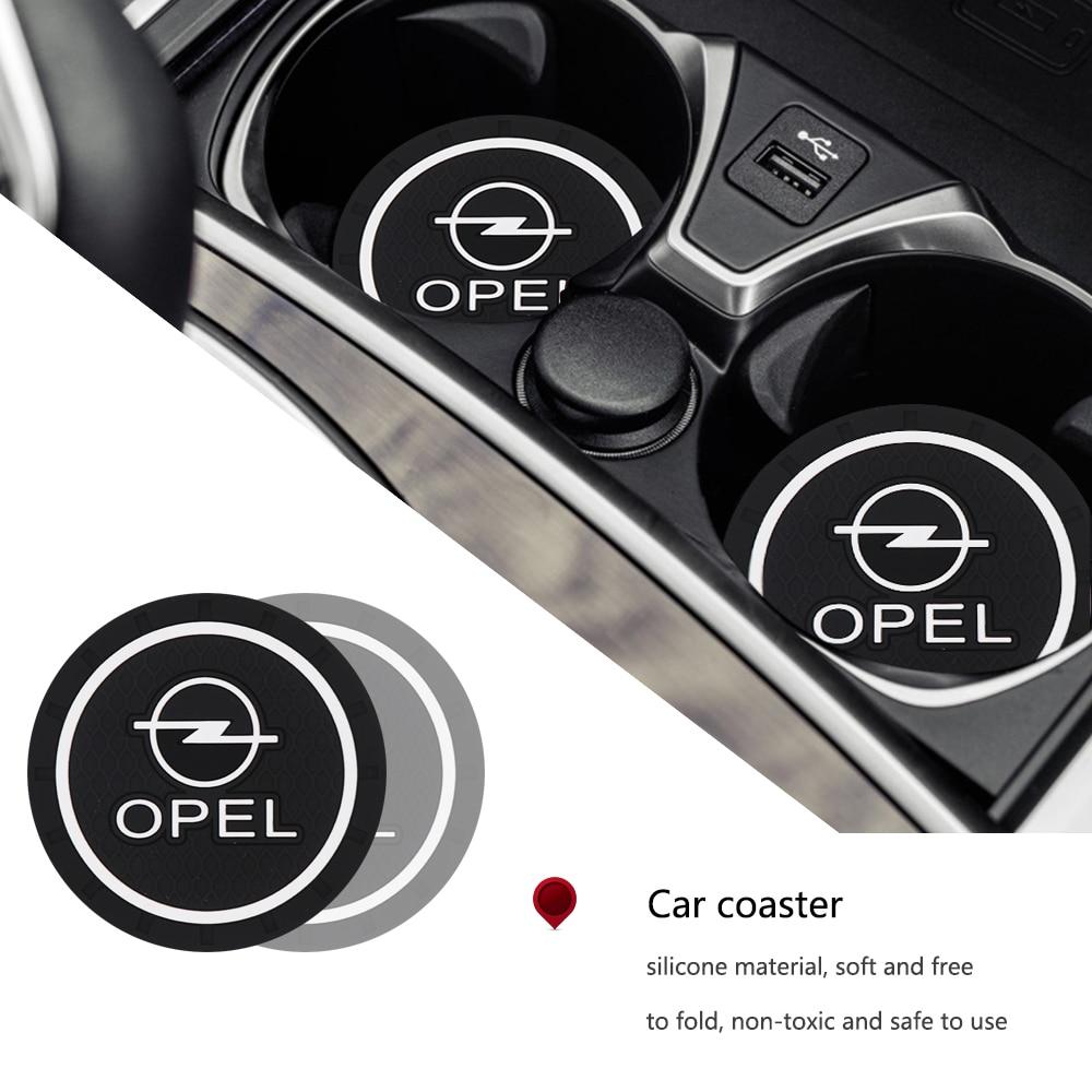 2PCS Car Cup Anti-slip Pad Epoxy Cup Holder Mat Pad Bottle Built-in Car Styling For Opel Corsa Astra Mokka X Crossland X Karl