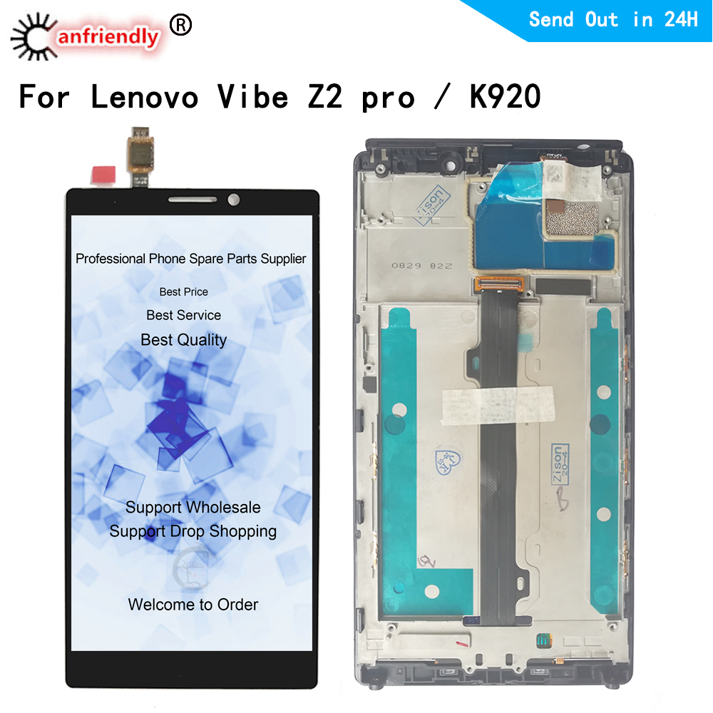 <font><b>LCD</b></font> For <font><b>Lenovo</b></font> <font><b>Vibe</b></font> <font><b>Z2</b></font> pro For <font><b>Lenovo</b></font> K920 <font><b>LCD</b></font> <font><b>Display</b></font> <font><b>Touch</b></font> panel <font><b>Screen</b></font> Digitizer module With Frame Assembly Replacement parts image