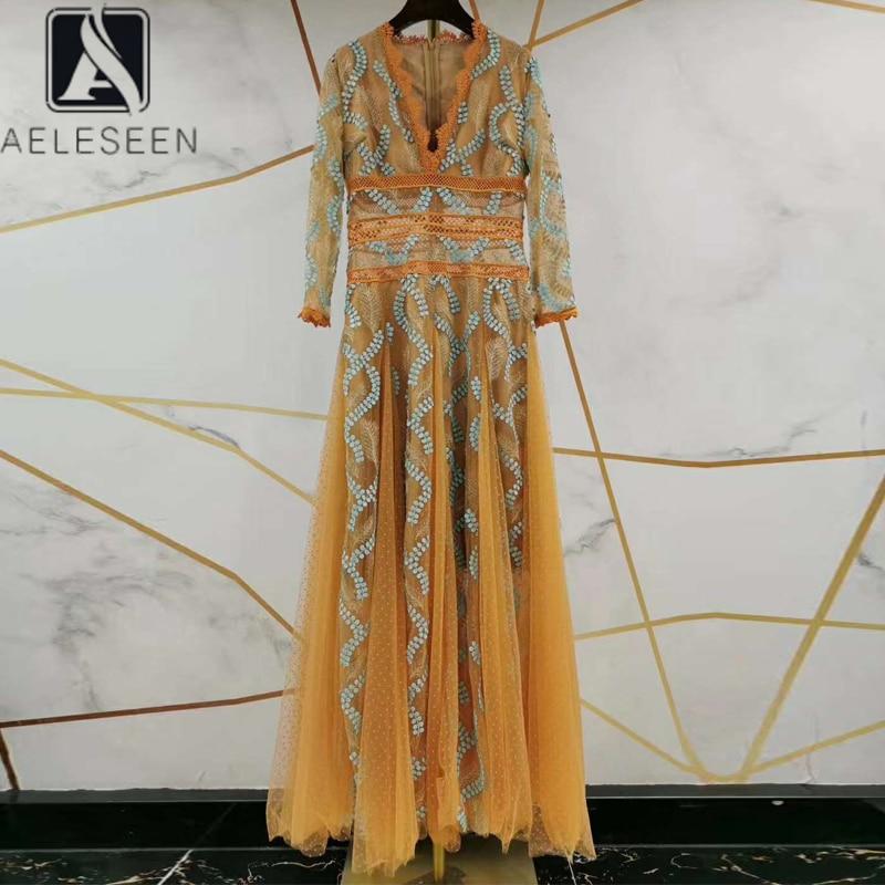 Женское платье с цветочной вышивкой AELESEEN, желтое платье с v образным вырезом и блестками, весна 2020 Платья      АлиЭкспресс