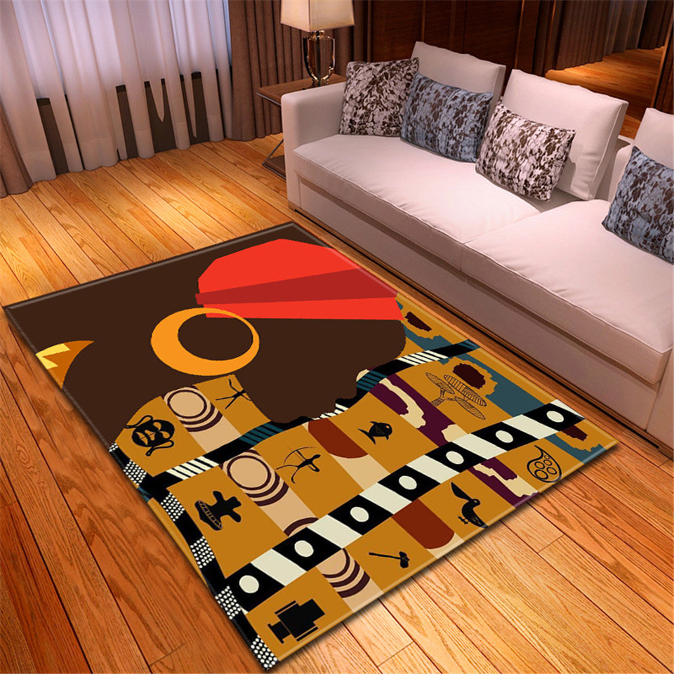 Floor Carpets African Woman Printing Large Area Rug American Style Modern Carpet Fluffy Deco Adult Room Living Room Mat