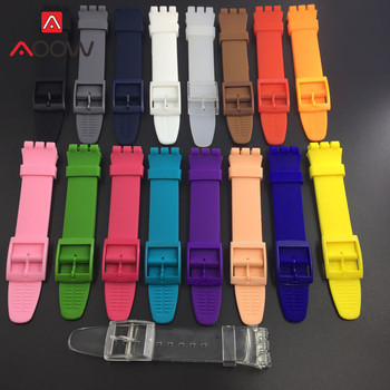 Colorful Soft Silicone Watchband for Swatch Watch 16mm 17mm 19mm 20mm Rubber Replace Bracelet Strap Band Accessories Black - discount item  40% OFF Watches Accessories