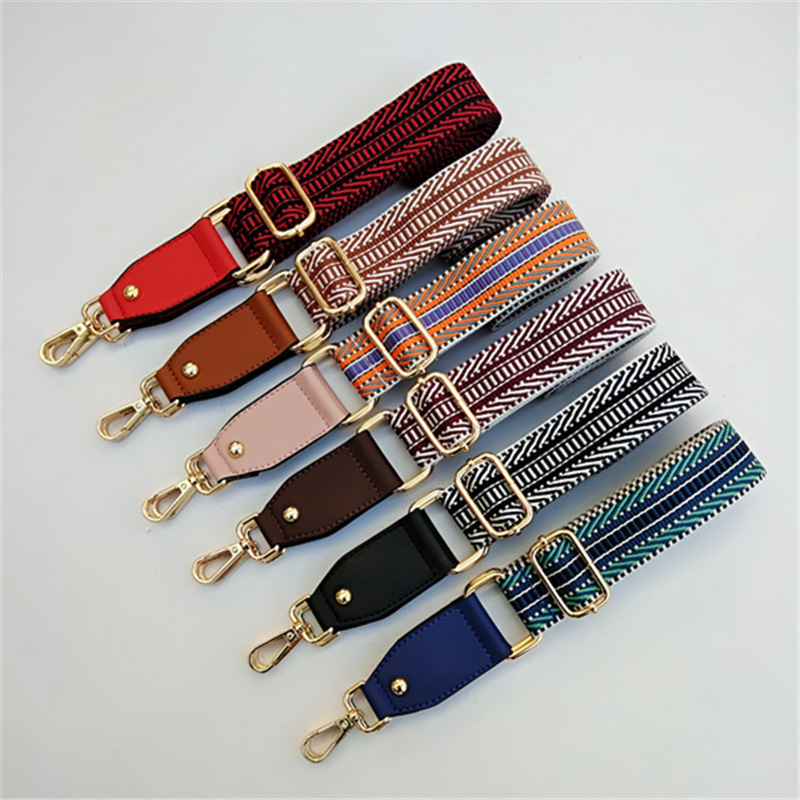 Luxury Bag Strap Canvas Cotton Fabric Shoulder Strap Belt Chromatic Stripe Diy Bag Accessories Adjustable O Bag Handles