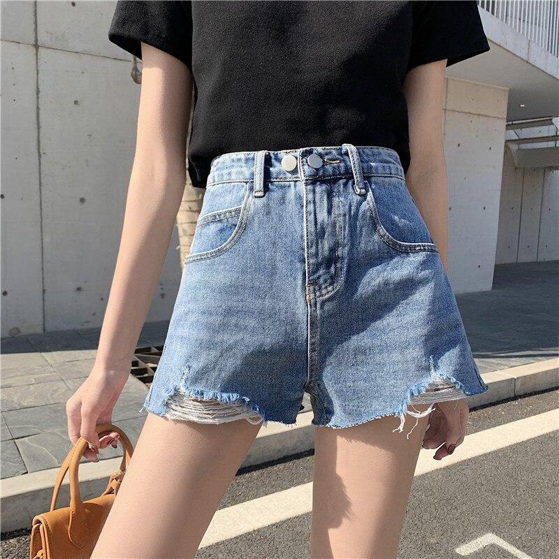 Womens Fashion Shorts Summer High Waisted Ripped Hole Denim Shorts Jeans Korean Streetwear Casual Short Jeans