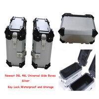 36L 46L Universal Motorcycle Rear Trunk Storage Moto Top Tool Box Waterproof Luggage Helmet Key Lock Tail box Case Aluminum