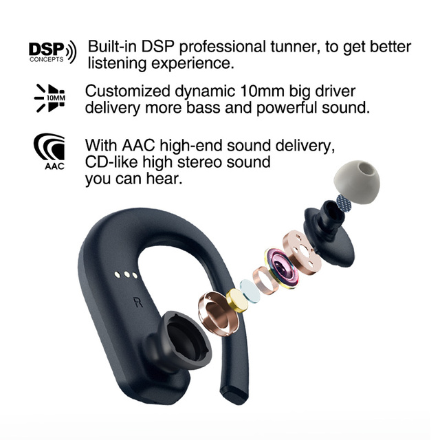 T1 Bluetooth Earphone Full Panel Touch Control TWS 36H Play Wireless Headphones Support AAC IPX7 Waterproof  9D Sports TWS 4