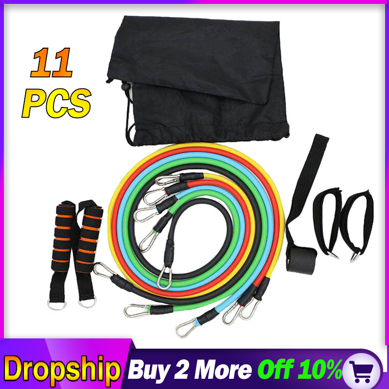 Fitness Workout Resistance Bands Latex 11pcs/set Exercise Pilates Tubes Pull Rope Expanders Training Workout Yoga Rubber Loop