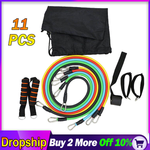Fitness Workout Resistance Bands Latex 11pcs/set Exercise Pilates Tubes Pull Rope Expanders Training Workout Yoga Rubber Loop(China)