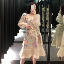 Sweater Dress Embroidery Floral High-End Winter Soft Ruffle Autumn Cashmere BELTED Handmade