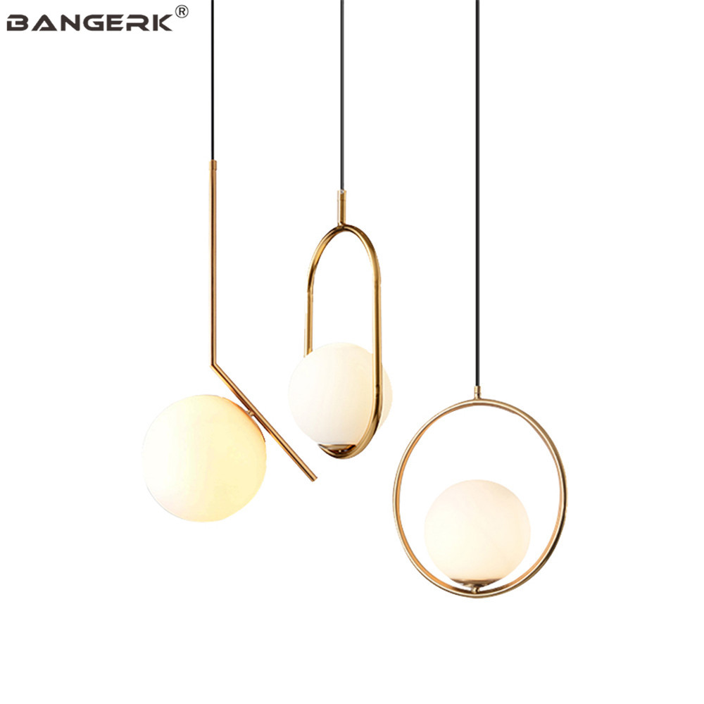 Simple Modern LED Pendant Lamp Loft Decor Iron Circular Glass Hanging Light Dining Room Lights Fixtures Home Lighting Luminaire|Pendant Lights| |  - title=