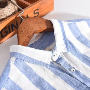 Image 3 - 男性春の秋のファッションブランドリネン長袖身廊ブルーストライプパッチワークターンダウン襟カジュアル古典的な男性のシックなシャツ