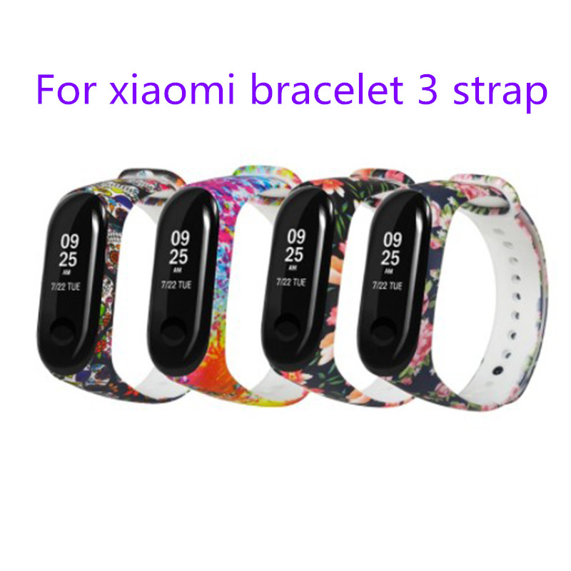 For Mi Band 3 Painted Pattern Personalized Print Bracelet Strap Wristband For Sport Replacement Bracelet Wristband Accessories