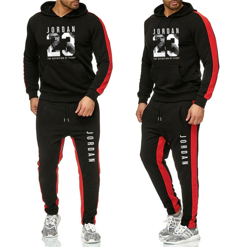 Men's Printed Label 65% Cotton 35% Polyester Color Matching Spring And Autumn Hoodie Suit Drawstring Sportswear Qiao-23