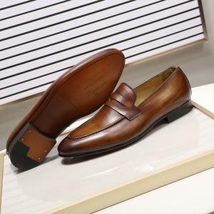 Image 4 - פליקס CHU גברים סירה עור נעלי עור אמיתי אלגנטי מסיבת חתונה מקרית Mens שמלת נעלי חום יד צבוע דירות