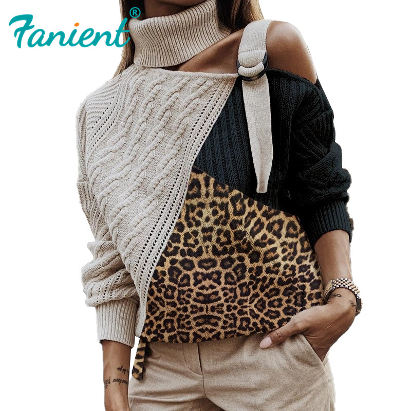 Leopard Patchwork Turtleneck Sweater Women Sexy Off Shoulder Color Block Knitted Sweaters Batwing Long Sleeve Pullover Tops