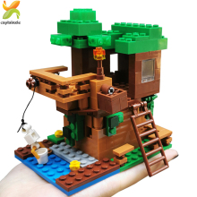 400+pcs Minecrafted Tree House Model Figures Building Blocks City Legoed Town Guardian Educational Bricks Toy Gift For children diy building blocks bricks my world compatible legoed minecrafted set steve alex reuben figures city toy for children