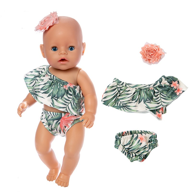 Baby New Born Doll Clothes Born Fit 18 inch 40cm-43cm Pineapple Hair With Flowers and Leaves Bathing Suit For Baby Birthday Gift
